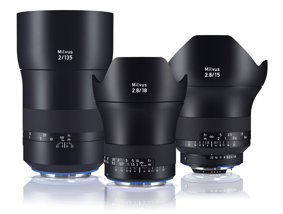 Zeiss Milvus 2 8/15, 2 8/18 and 2/135 lenses for Nikon F mount