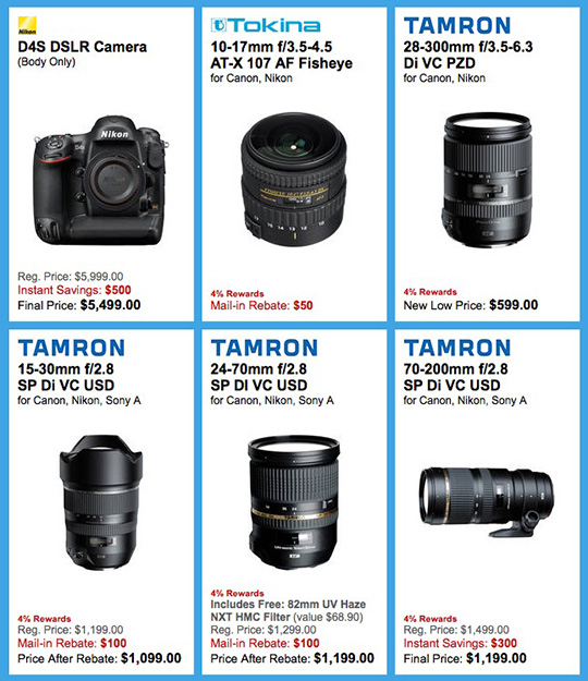 The latest deals from B&H (Nikon D4s, Tamron and Tokina lenses ...