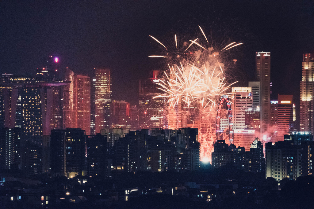 An insane perspective of fireworks from 10 kilometers away