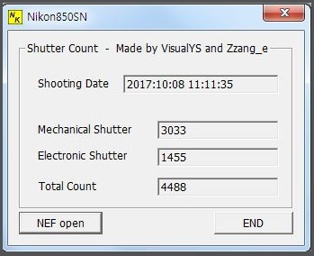 Here is a free program to check the Nikon D850 shutter count