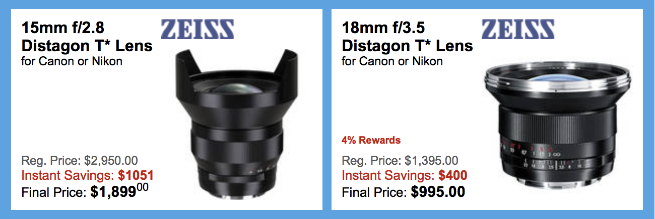 Another price drop on the Zeiss Classic DSLR lenses for Nikon F