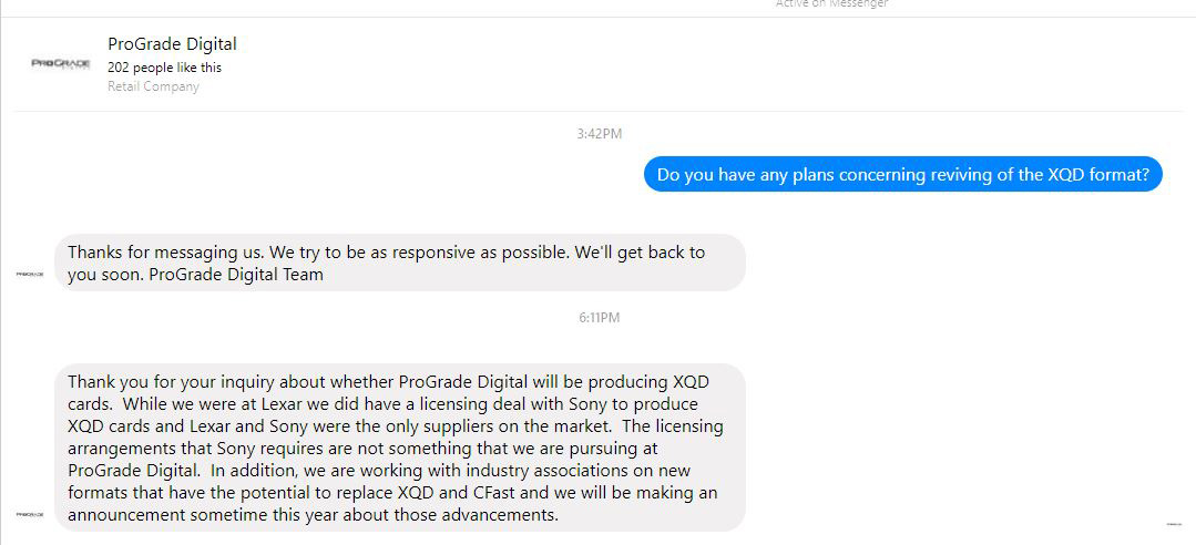 Prograde Will Not Manufacture Xqd Memory Cards Lexar Is Currently