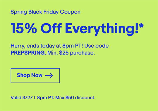 The one day only eBay deal is back: 15% off up to $50 (coupon included)