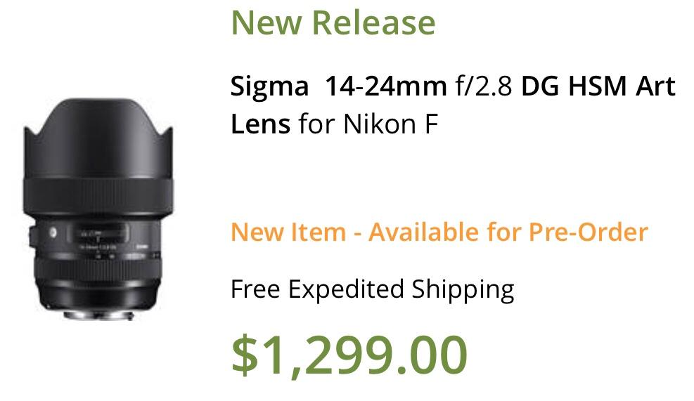 US price of the new Sigma 14-24mm f/2.8 Art lens: $1,299 - Nikon Rumors