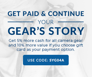 Get 5% more on all camera gear sold to KEH and receive 10% more value when you choose a gift card as your payment method with coupon code SYG04A.