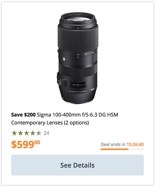 Deal of the day: Sigma 100-400mm f/5-6.3 DG OS HSM Contemporary lens for Nikon F-mount on sale for $599