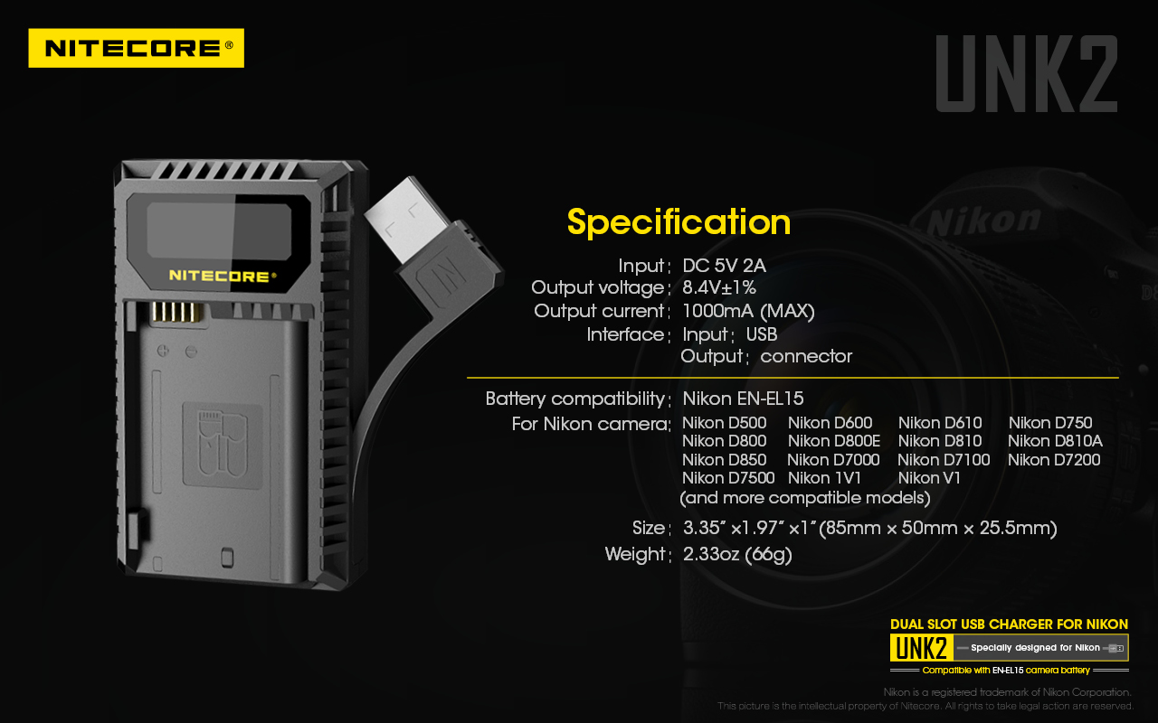 Nitecore released a new UNK2 dual charger for Nikon EN-EL15
