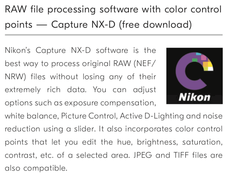 Color control points coming in the next update of Nikon