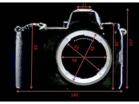 Nikon mirrorless camera dimensions by © Gosh1