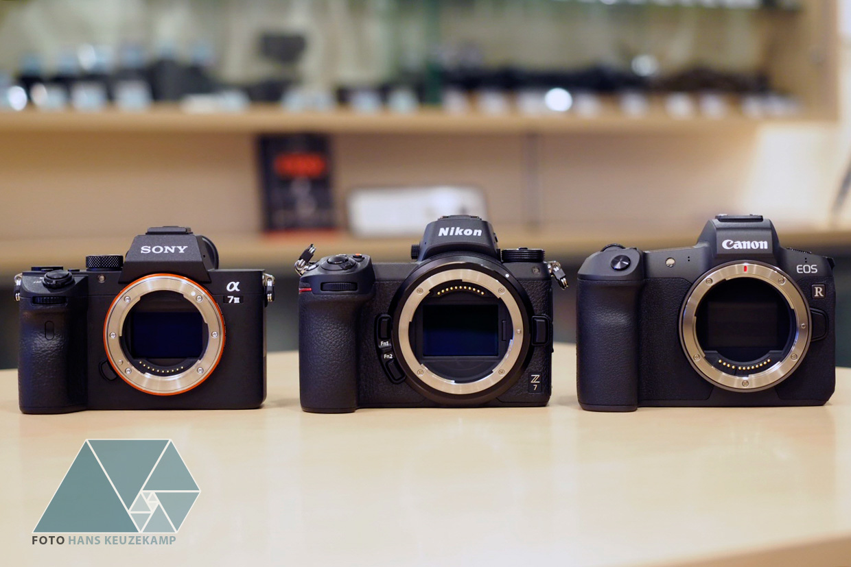 Sony A7, Nikon Z7 and Canon EOS R full-frame mirrorless cameras side by side