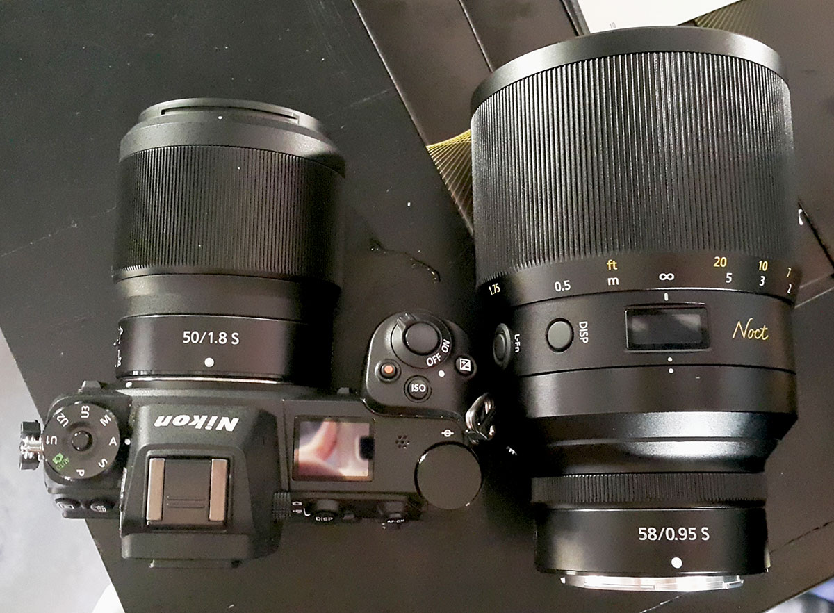 Nikon Z 50mm f/1.8 S vs. Z Noct Nikkor 58mm f/0.95 lens size comparison