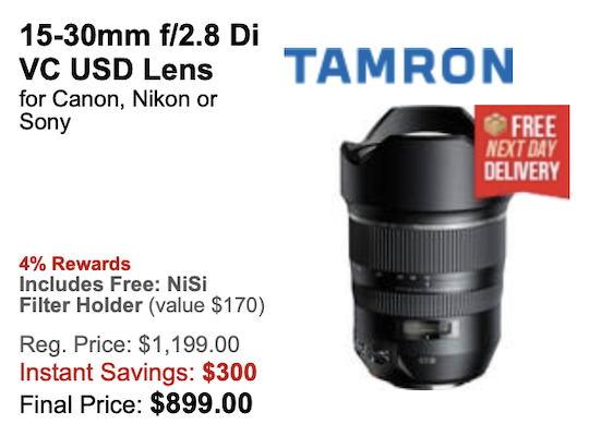 Deal of the day: the Tamron SP 15-30mm f/2 8 Di VC USD lens