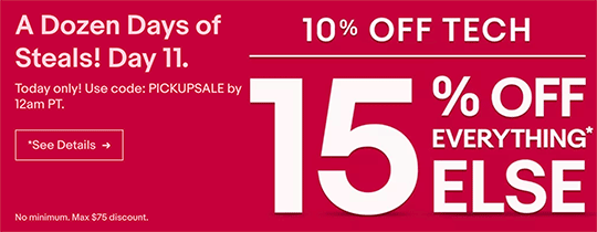 Today only: 10%-15% off eBay coupon