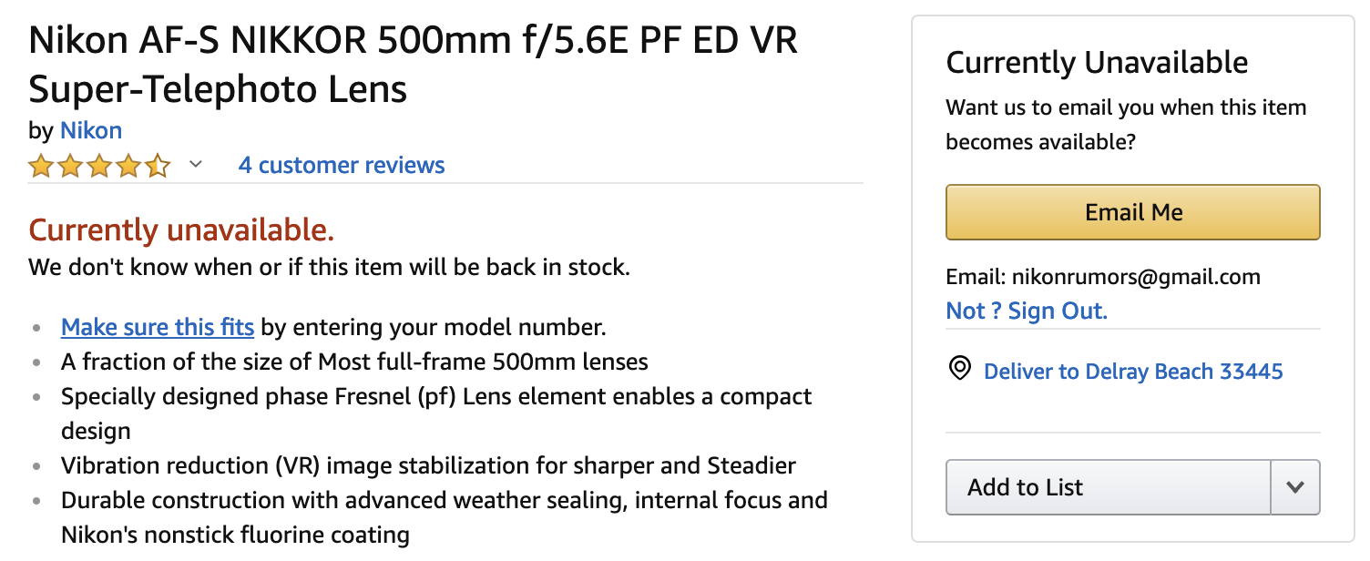 Amazon cancels Nikkor 500mm f/5 6E PF ED VR pre-orders, removes lens