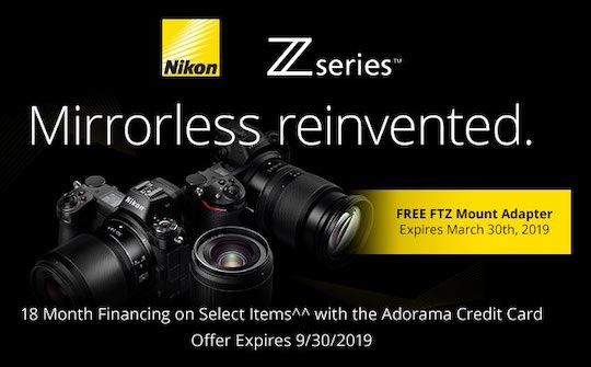 ca9eab3f7af B H offers a free XQD memory card and a camera bag with every Nikon Z6 and  Z7 purchase (in addition to the free FTZ adapter)