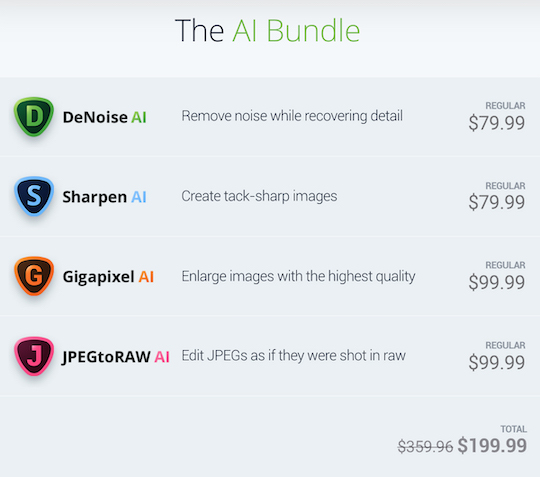 The updated Topaz Labs AI bundle is $150 off for a limited