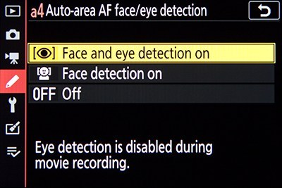 Auto-Area AF Face/Eye Detection item, to enable face and eye detection when using Auto-Area AF-Area Mode.