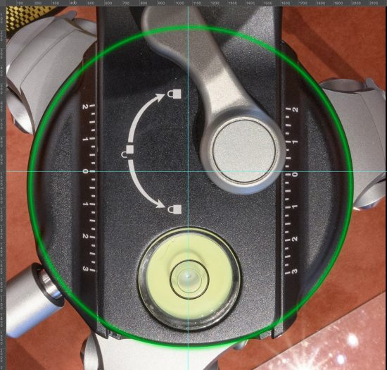 E9 Nodal Alignment Step 3 — Camera pointing straight down (using bubble level on back of camera) - lines and circle added in the left image (21a) to identify the center.