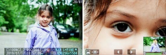 Left: The camera made use of Eye-Detection AF when capturing this image, as indicated by the small red square on the subject's right eye. Right: Press the OK Button to zoom in 100% at the area of focus.