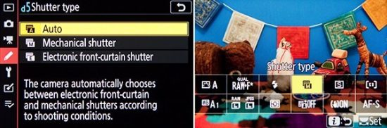 """Left: Shutter Type, including the Electronic Front-Curtain Shutter to help eliminate the internal movement from the first shutter curtain, in order to reduce blur from small camera movements. Right: Add the """"Shutter Type"""" item to the i Menu, for quick access during shooting."""