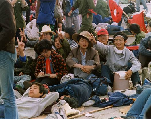 Chinese university students, some on hunger strikes, at Tiananmen Square in mid-May, 1989. Photo by Terril Jones.