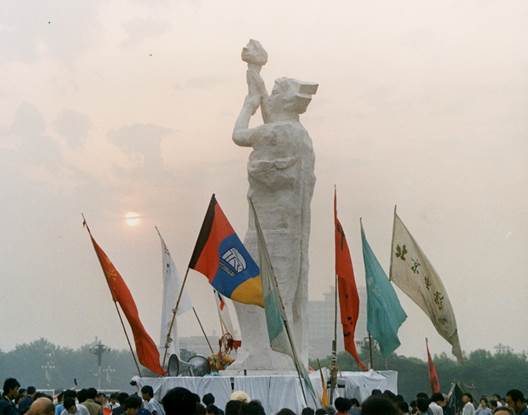 The Goddess of Democracy statue, built by students from the Central Academy of Fine Arts, assembled in Tiananmen Square in late May, 1989.