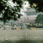 Tanks and soldiers surround the perimeter of Tiananmen Square, June 4, 1989. Photo by Terril Jones/AP.
