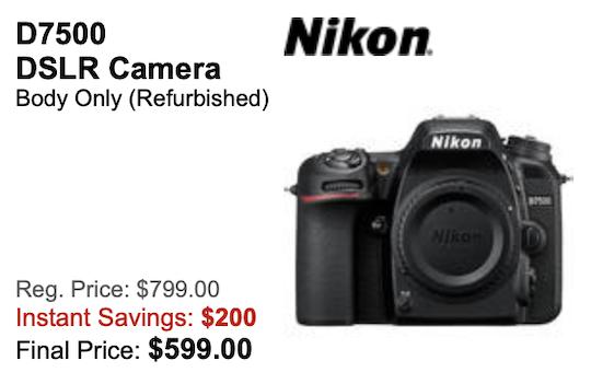 Another price drop: refurbished Nikon D7500 DSLR camera now