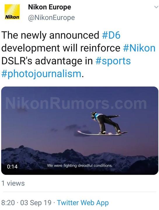 Nikon Europe leaked the Nikon D6 development announcement on