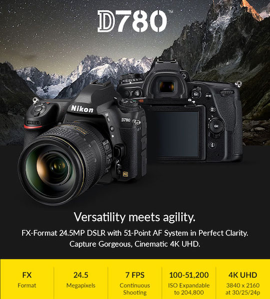 Nikon D780 now shipping, currently in stock