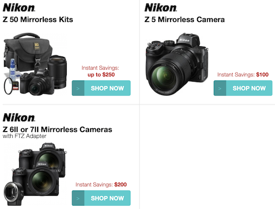 More Nikon Z savings: new Z6 II and Z7 II with FTZ adapter offers ($200 off), $100 price drop on the Z5