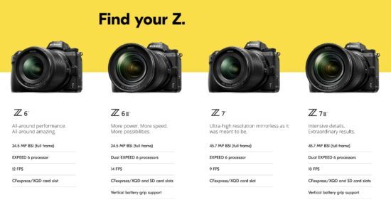 Nikon Z6 II vs. Nikon Z7 II specifications comparison