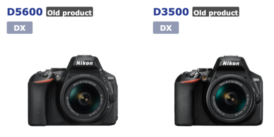 Nikon D3500 and D5600 listed as discontinued