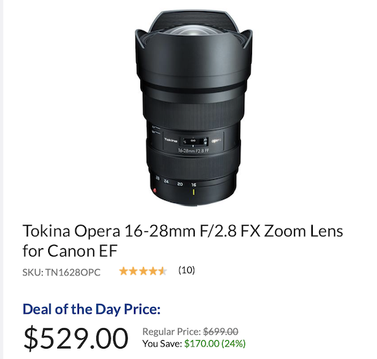 Deal of the day: Tokina Opera 16-28mm f/2.8 FX lens for Nikon F-mount is now $170 off