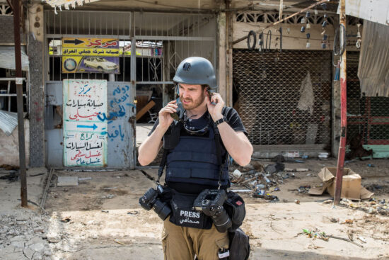 Working in War: Me during the battle for Mosul, Iraq with pre Z gear (photo: Philipp Schmidli)