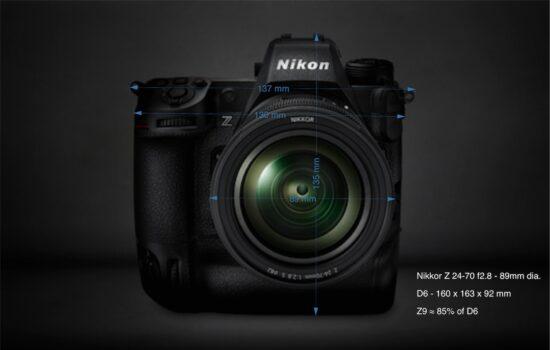 Nikon Z9 dimensions estimate based on the diameter of Nikkor Z 24-70 f2.8 lens