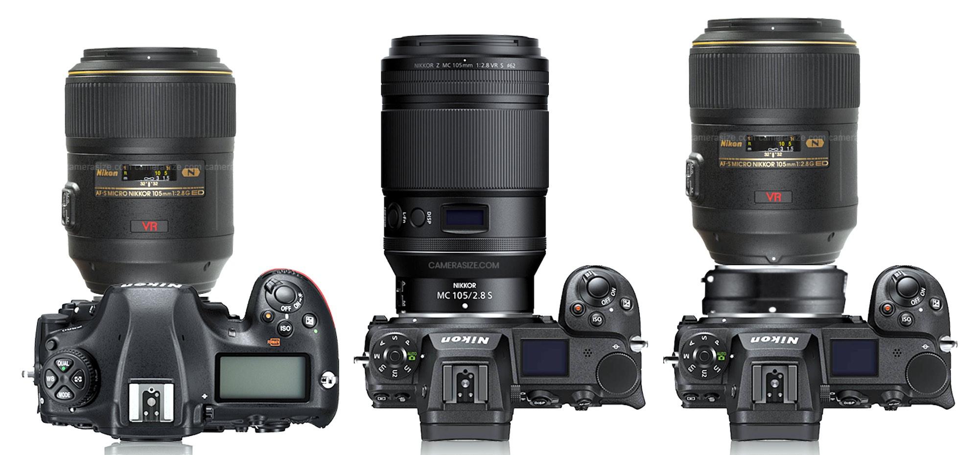 Confronto delle specifiche Nikkor 105mm f/2.8G VR IF-E e Nikkor Z MC 105mm f/2.8 VR